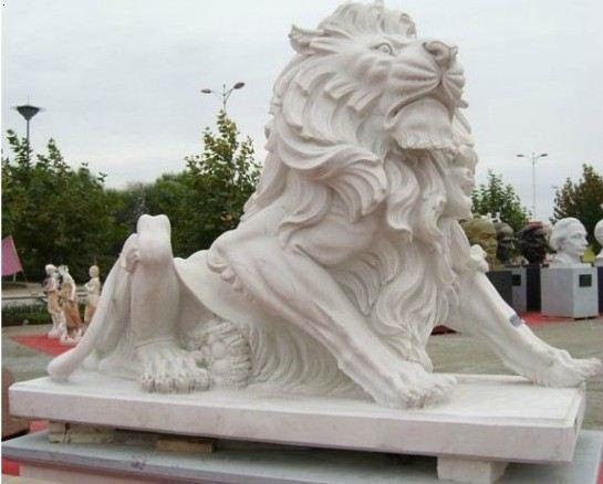 汉白玉狮子-石狮子-卧